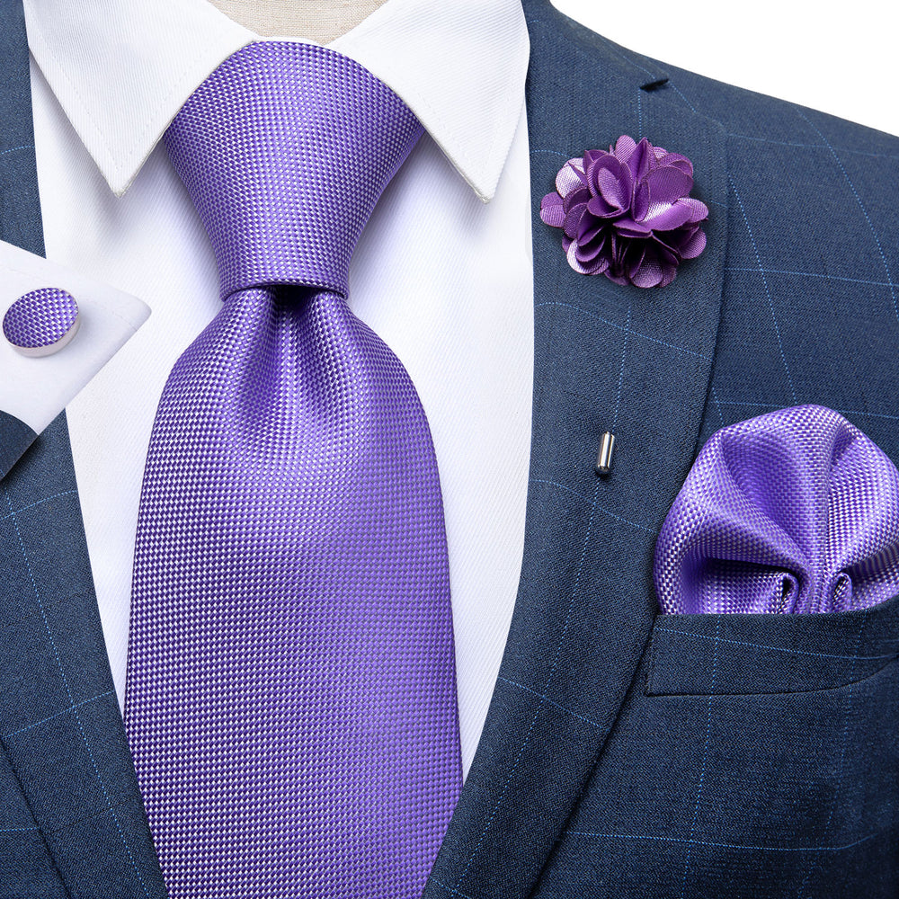 Load image into Gallery viewer, Purple Solid Men's Silk Necktie Handkerchief Cufflinks Set With Lapel Pin Brooch Set (4666060374097)