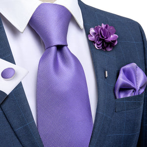 Purple Solid Men's Silk Necktie Handkerchief Cufflinks Set With Lapel Pin Brooch Set (4666060374097)