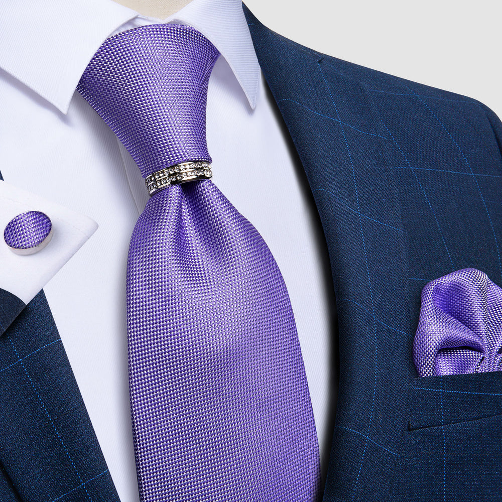 4PCS Purple Solid Silk Men's Tie Pocket Square Cufflinks with Tie Ring Set (4658004328529)