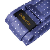 Purple White Polka Dot Solid Men's Tie Handkerchief Cufflinks Set