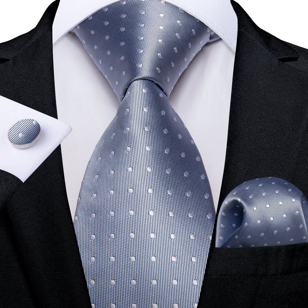 Grey White Polka Dot Solid Men's Tie Handkerchief Cufflinks Set