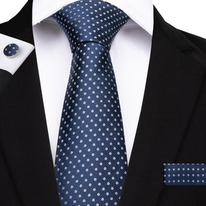 Load image into Gallery viewer, 4PCS Blue Polka Dot Men's Silk Tie Pocket Square Cufflinks with Tie Ring Set