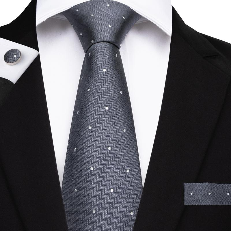 Grey White Polka Dot Men's Tie Handkerchief Cufflinks Set