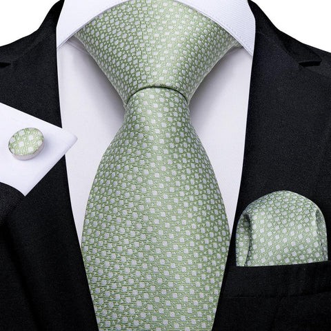 Cyan Green Novelty Men's Tie Handkerchief Cufflinks Set