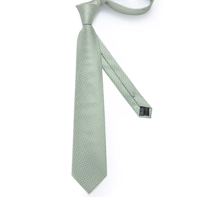 Cyan Green Novelty Men's Tie Handkerchief Cufflinks Set (1932425986090)