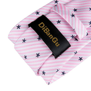Pink Black Star Novelty Men's Tie Handkerchief Cufflinks Set (1932426674218)