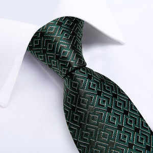 Green Black Novelty Men's Tie Handkerchief Cufflinks Set