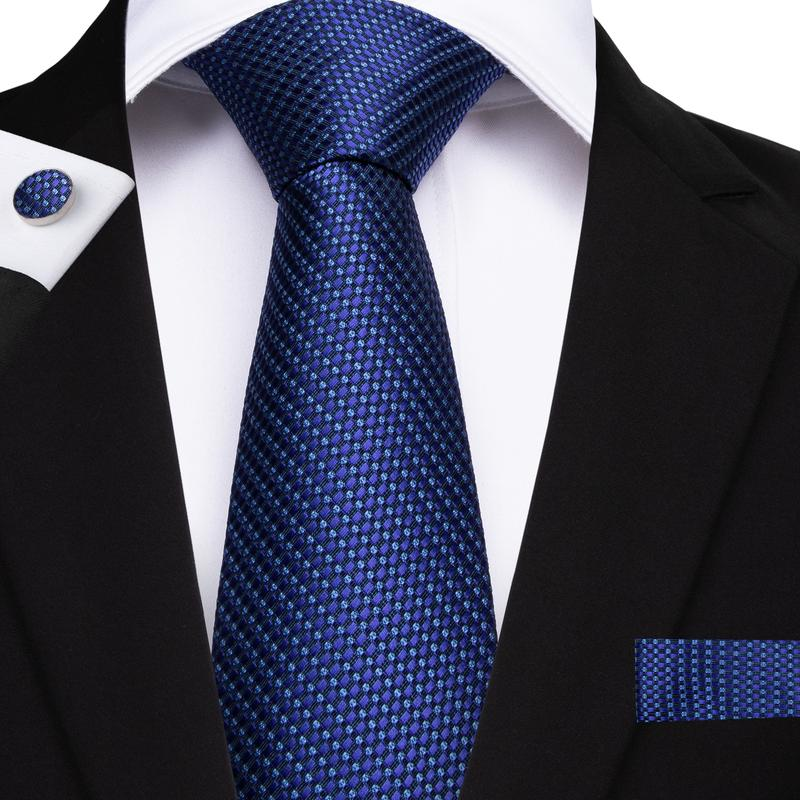 Blue Green Plaid Men's Tie Handkerchief Cufflinks Set