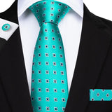 Green Blue Diamond Novelty Men's Tie Handkerchief Cufflinks Set