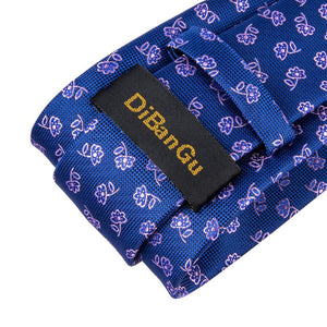 Blue Pink Floral Novelty  Men's Tie Handkerchief Cufflinks Set