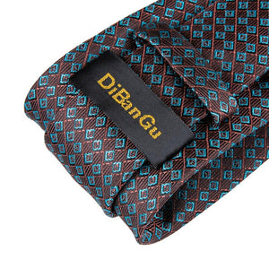 Brown Blue Plaid Men's Tie Handkerchief Cufflinks Set