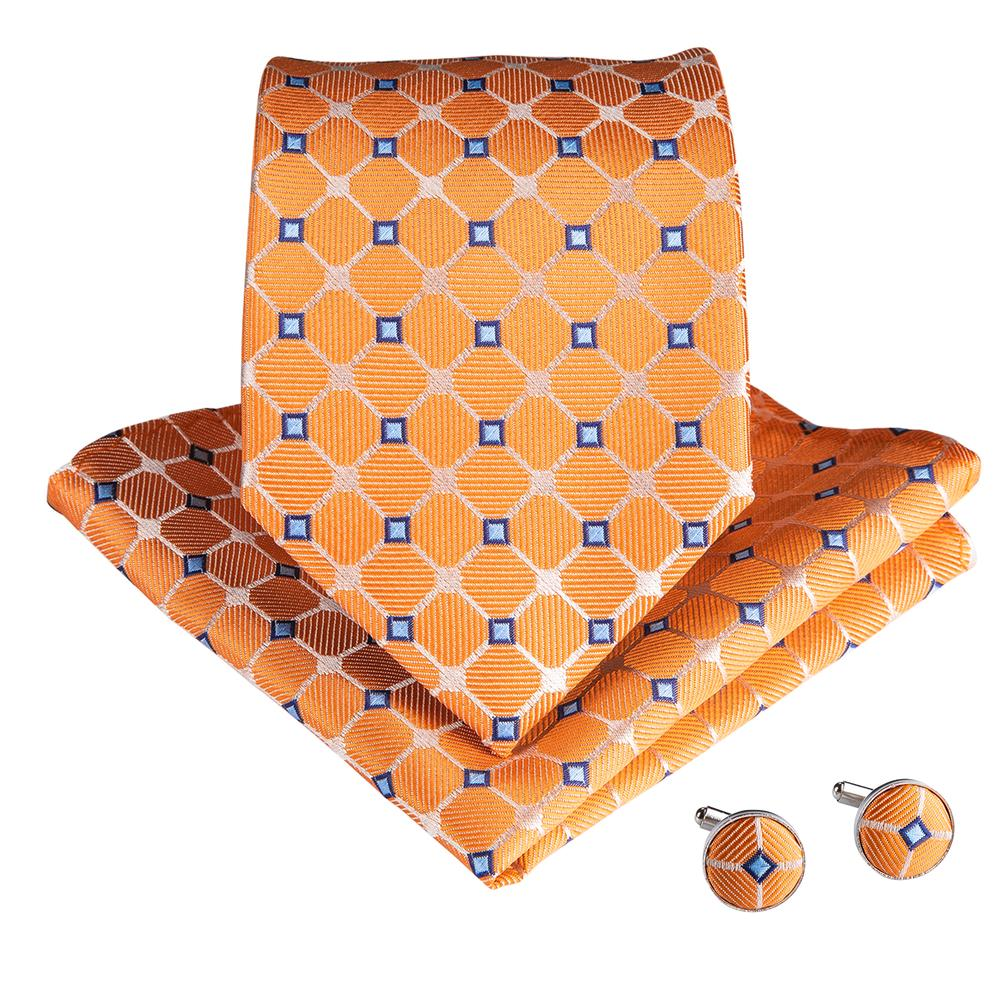 Orange Blue Plaid Men's Tie Handkerchief Cufflinks Set