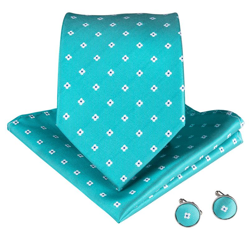 Green White Plaid Men's Tie Handkerchief Cufflinks Set