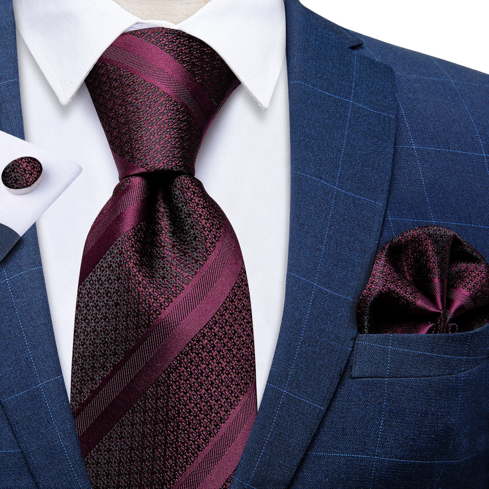 Wine Red Striped Men's Tie Handkerchief Cufflinks Set with Tie Tack