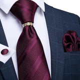 Deep Purplish Red Striped Men's Tie Ring Handkerchief Cufflinks Set
