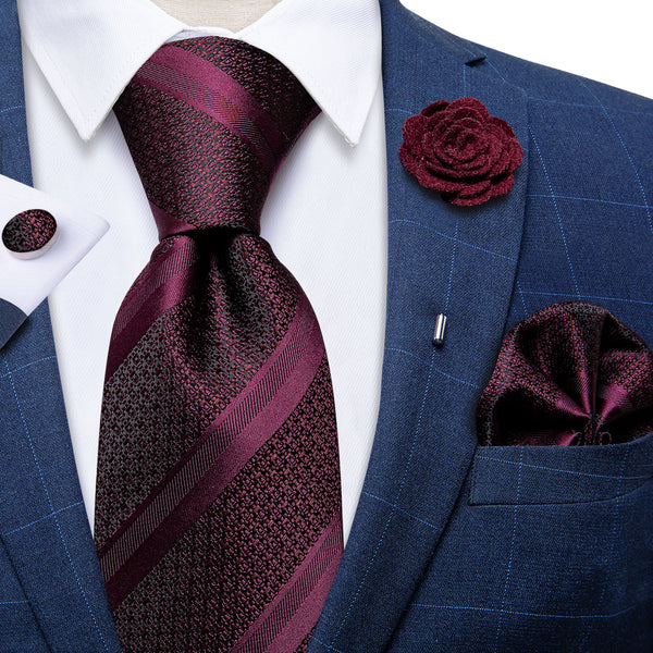 Wine Red Striped Men's Tie Handkerchief Cufflinks Set With Lapel Pin