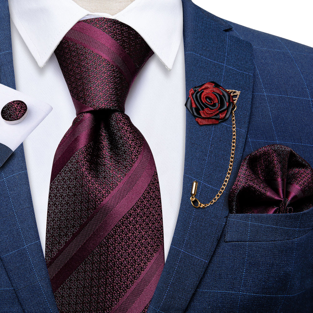 Deep Purplish Red Striped Silk Men's Necktie Handkerchief Cufflinks Set With Lapel Pin Brooch Set