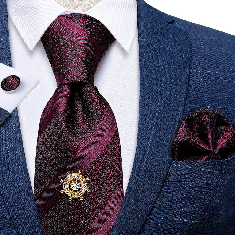 Load image into Gallery viewer, Wine Red Striped Men's Tie Handkerchief Cufflinks Set with Tie Tack (4701434380369)
