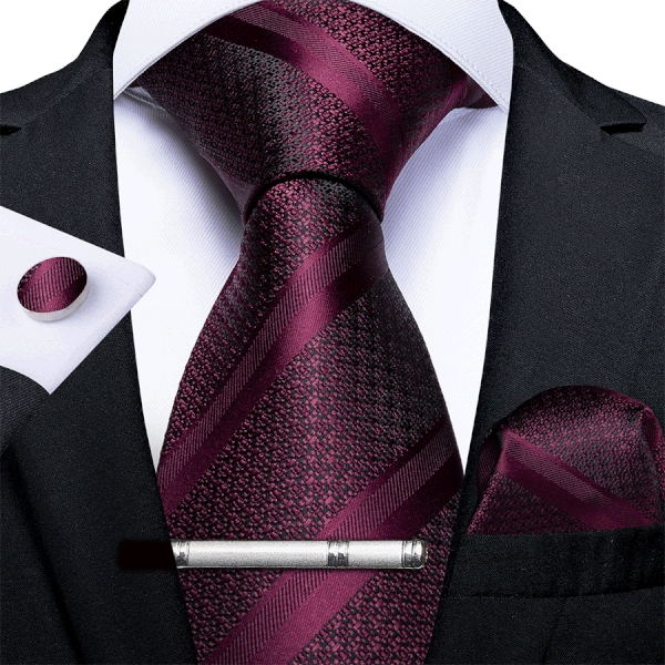 Burgundy Striped Men's Tie Handkerchief Cufflinks Clip Set