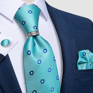 4PCS Green Blue Floral Silk Men's Tie Pocket Square Cufflinks with Tie Ring Set