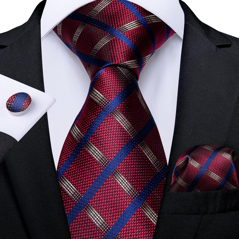 Red Blue Plaid Men's Tie Handkerchief Cufflinks Set
