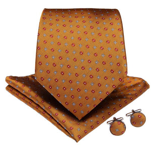 Yellow Red Polka Dot  Men's Tie Handkerchief Cufflinks Set (1963854725162)