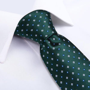 Green White Geometry Novelty Men's Tie Handkerchief Cufflinks Set