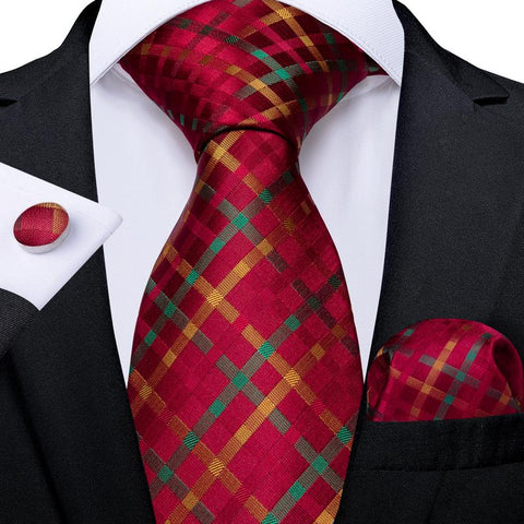 Red Yellow Plaid Men's Tie Handkerchief Cufflinks Set