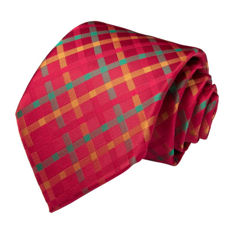 Load image into Gallery viewer, Red Yellow Plaid Men's Tie Handkerchief Cufflinks Set (1963524587562)