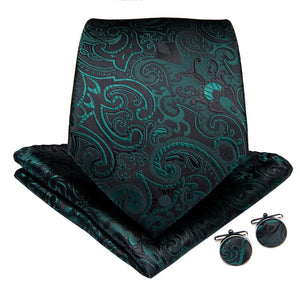 Black Green Floral  Men's Tie Handkerchief Cufflinks Set