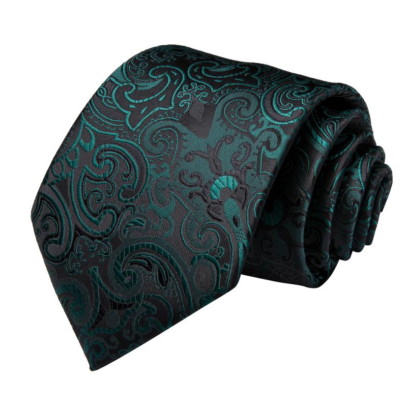 Black Green Floral  Men's Tie Handkerchief Cufflinks Set (1963459149866)