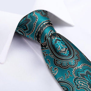 Load image into Gallery viewer, Blue-Green Black Paisley Floral Men's Tie Handkerchief Cufflinks Set (1963857412138)