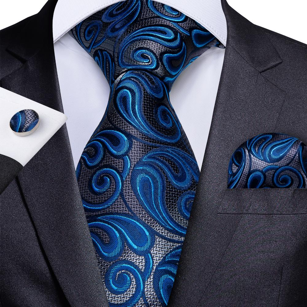 Load image into Gallery viewer, Blue Grey Paisley Tie Handkerchief Cufflinks Set