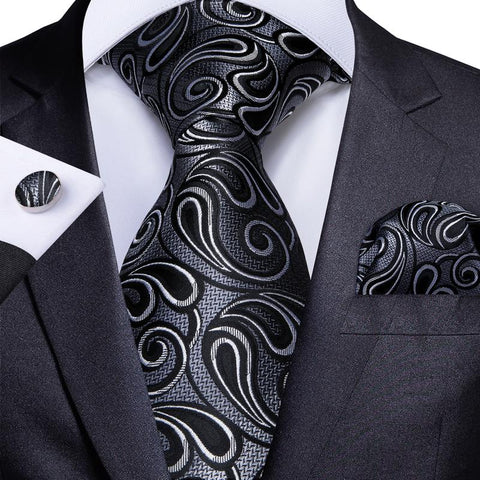 Grey Black Paisley  Men's Tie Handkerchief Cufflinks Set