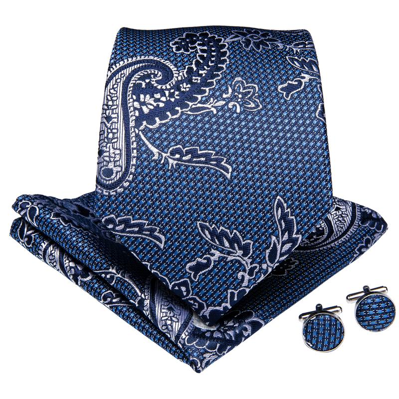 Load image into Gallery viewer, Blue White Paisley Floral Men's Tie Handkerchief Cufflinks Set