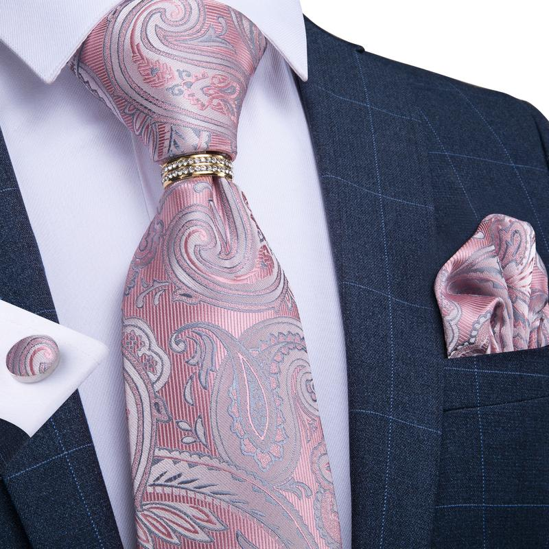 4PCS Pink Blue Paisley Men's Tie Pocket Square Cufflinks with Tie Ring Set
