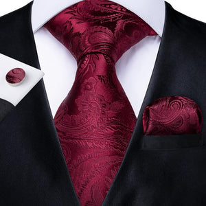 Amaranth Red Paisley  Men's Tie Handkerchief Cufflinks Set