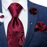 Amaranth Red Paisley Silk Men's Necktie Handkerchief Cufflinks Set With Lapel Pin Brooch Set