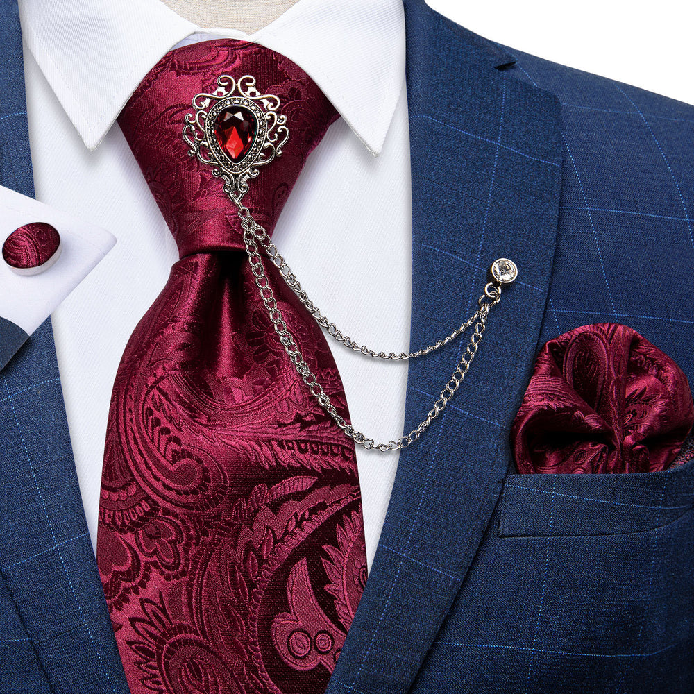Red Paisley Men's Silk Necktie Handkerchief Cufflinks Set With GEM Lapel Pin Brooch Set