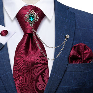 Load image into Gallery viewer, Red Paisley Men's Silk Necktie Handkerchief Cufflinks Set With GEM Lapel Pin Brooch Set