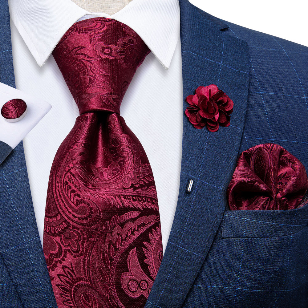 Red Paisley Silk Men's Necktie Handkerchief Cufflinks Set With Lapel Pin Brooch Set