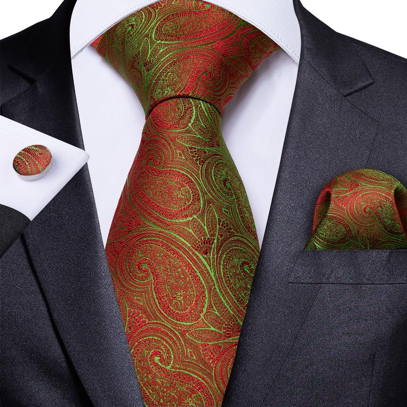 Orange Green Paisley Men's Tie Handkerchief Cufflinks Set