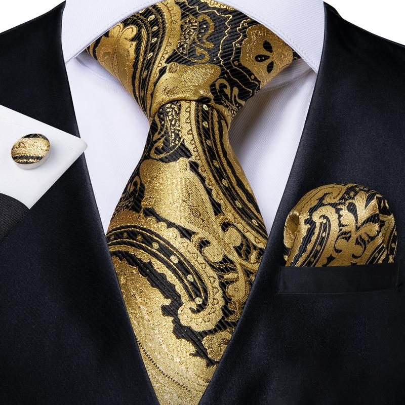 4PCS Yellow Black Paisley Men's Tie Pocket Square Cufflinks with Tie Ring Set (4531778125905)