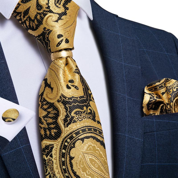 Yellow Black Paisley Men's Tie Ring Handkerchief Cufflinks Set