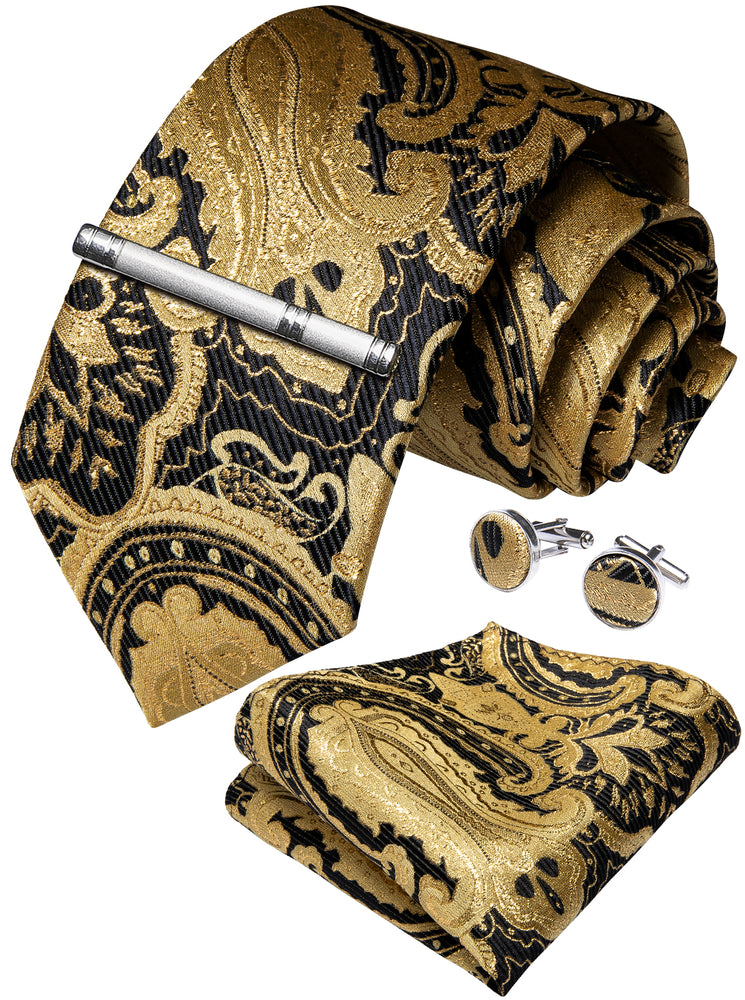 Yellow Black Paisley Men's Tie Handkerchief Cufflinks Clip Set (4690604720209)