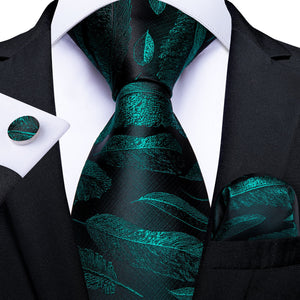 Black Green Feather Novelty Men's Tie Handkerchief Cufflinks Set (1965324304426)