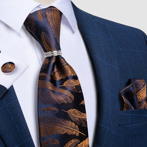 4PCS Blue Brown Feather Novelty Men's Silk Tie Pocket Square Cufflinks with Tie Ring Set