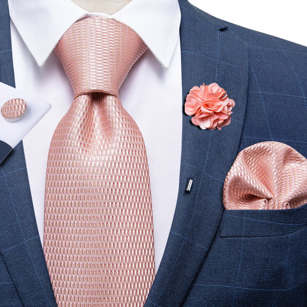 Pink Diamond Plaid Silk Men's Necktie Handkerchief Cufflinks Set With Lapel Pin Brooch Set
