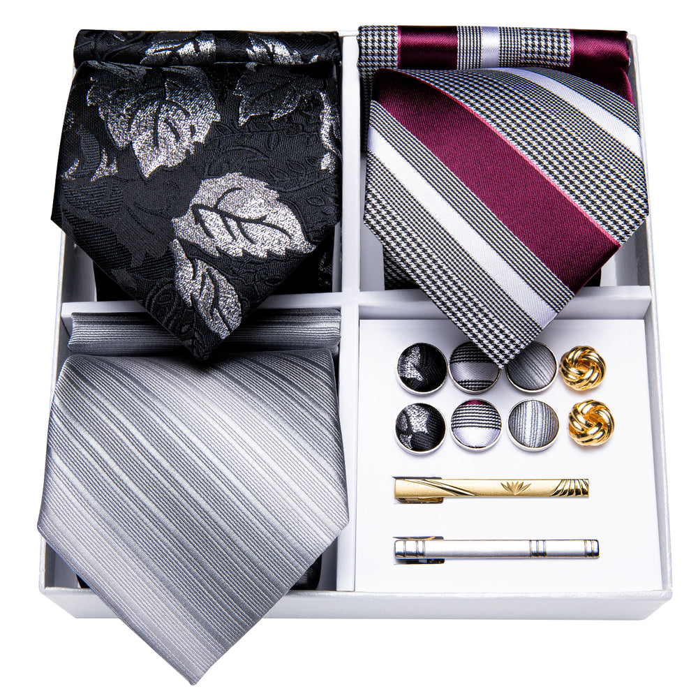3PCS Gift Necktie Set Gray/Black Silk Tie Handkerchief Gold Tie Clip Cufflinks Set,Mens Tie Collection