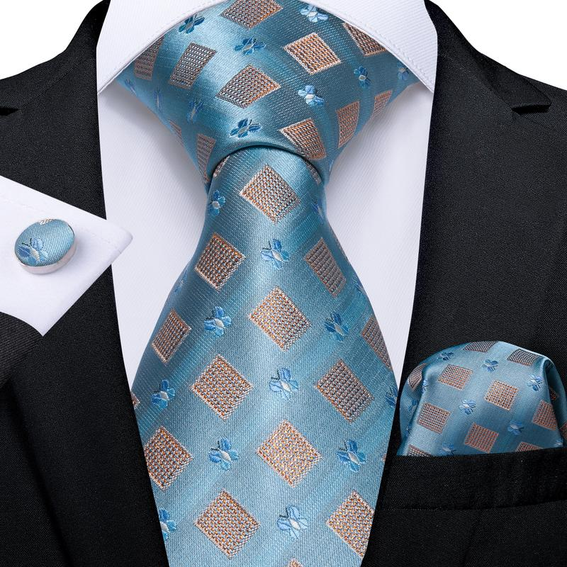 Light Blue Orange Plaid  Men's Tie Handkerchief Cufflinks Set